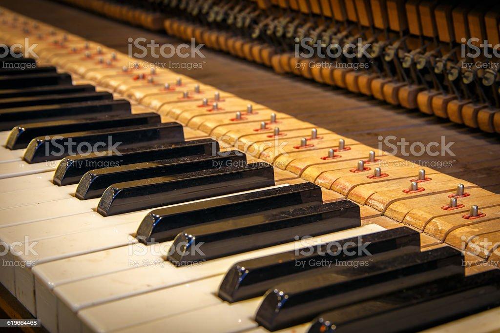 Closeup of antique piano keys and wood grain stock photo