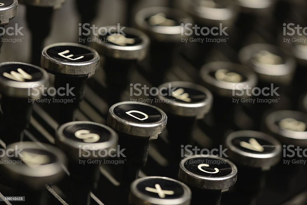 Close-up of antique typewriter keys stock photo