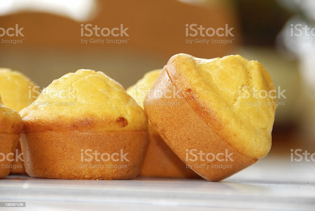 Close-up of appetizing muffins in a bakery stock photo