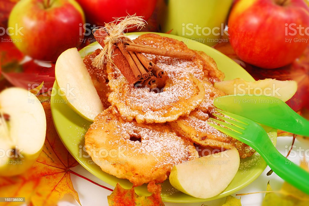 Close-up of apple fritters infused by cinnamon royalty-free stock photo
