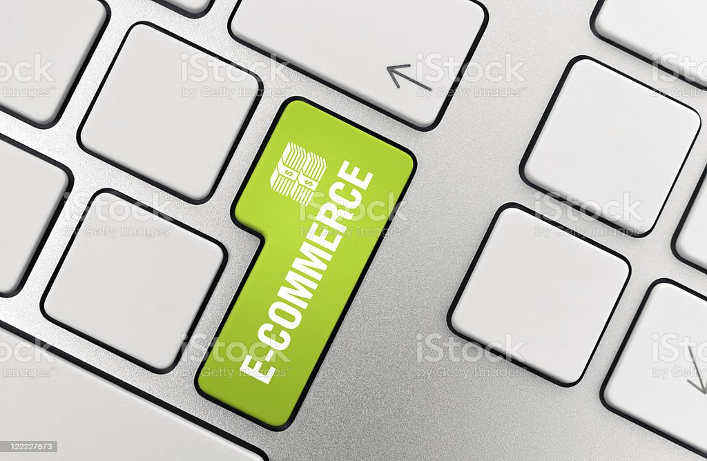 Close-up of Apple keyboard with green e-commerce button royalty-free stock photo