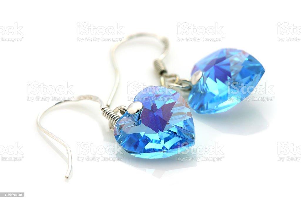 Closeup of aquamarine earrings royalty-free stock photo