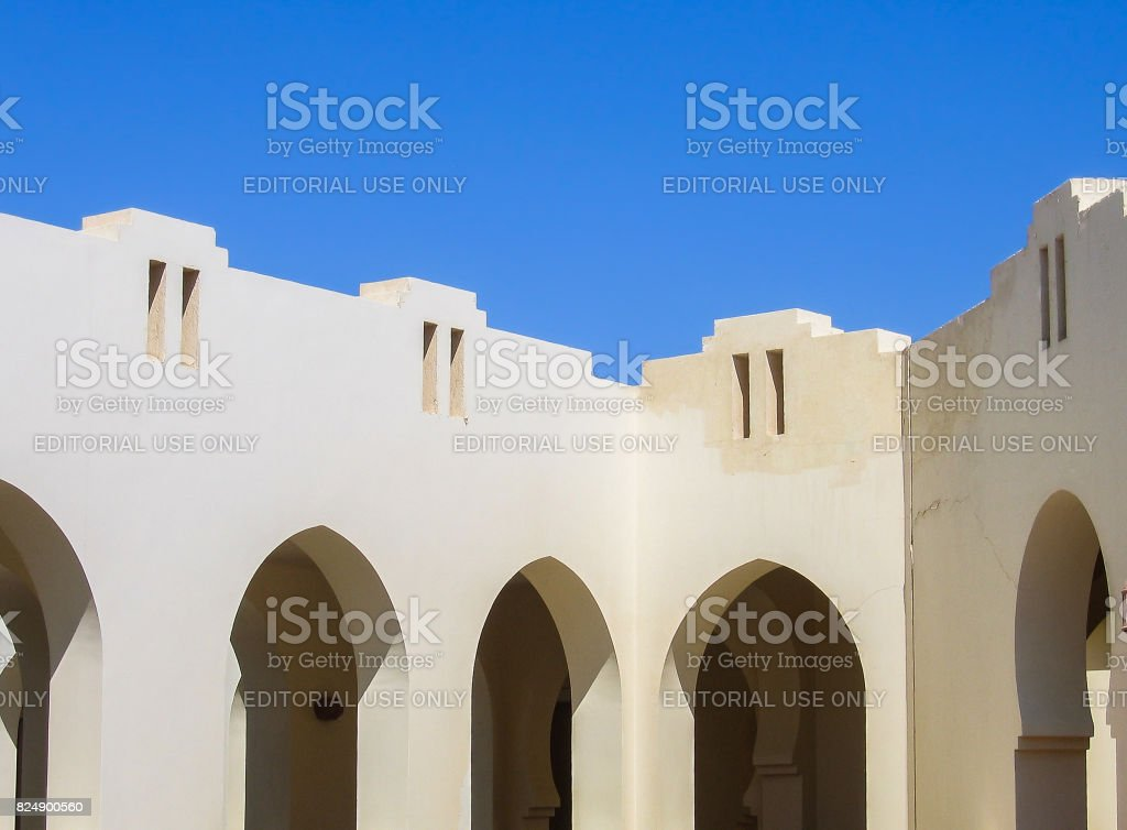 Closeup of arabic architectural detail arches against sky  in Sharm El Sheikh, Egypt stock photo
