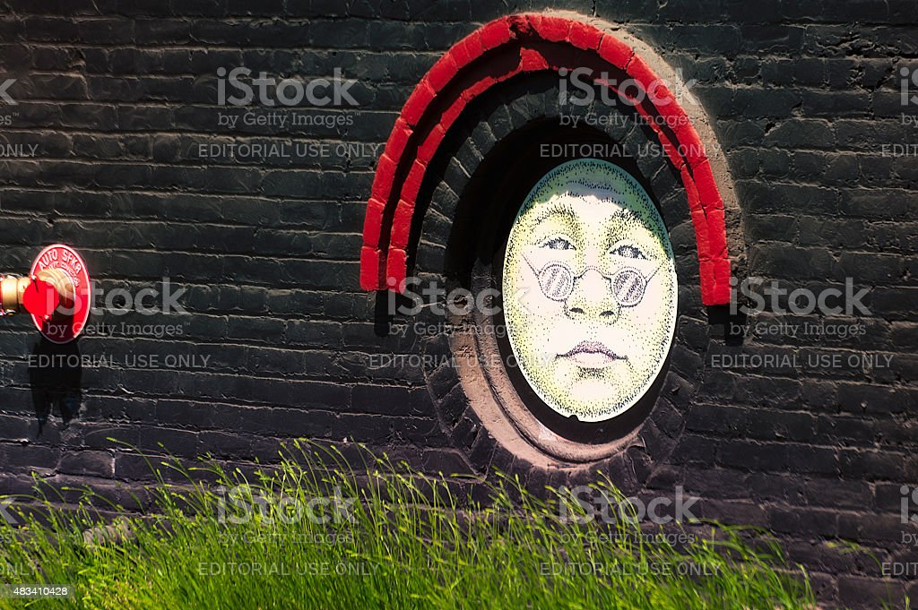 Closeup of Art on Sunshine Mill Winery Building stock photo