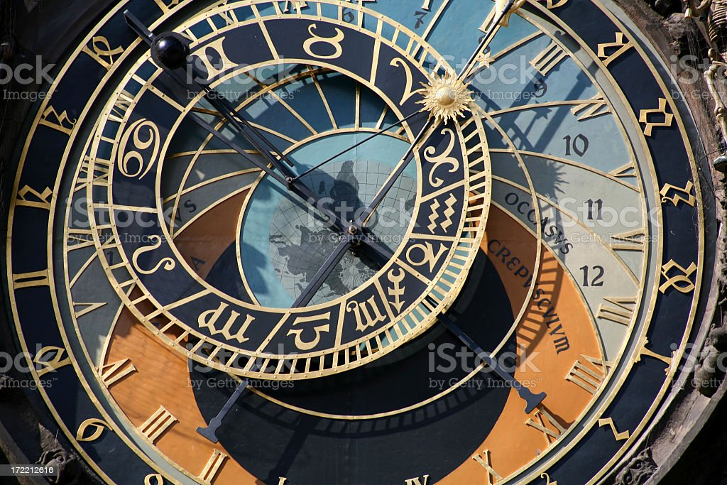 Close-up of astronomical clock in Prague, Czech Republic royalty-free stock photo
