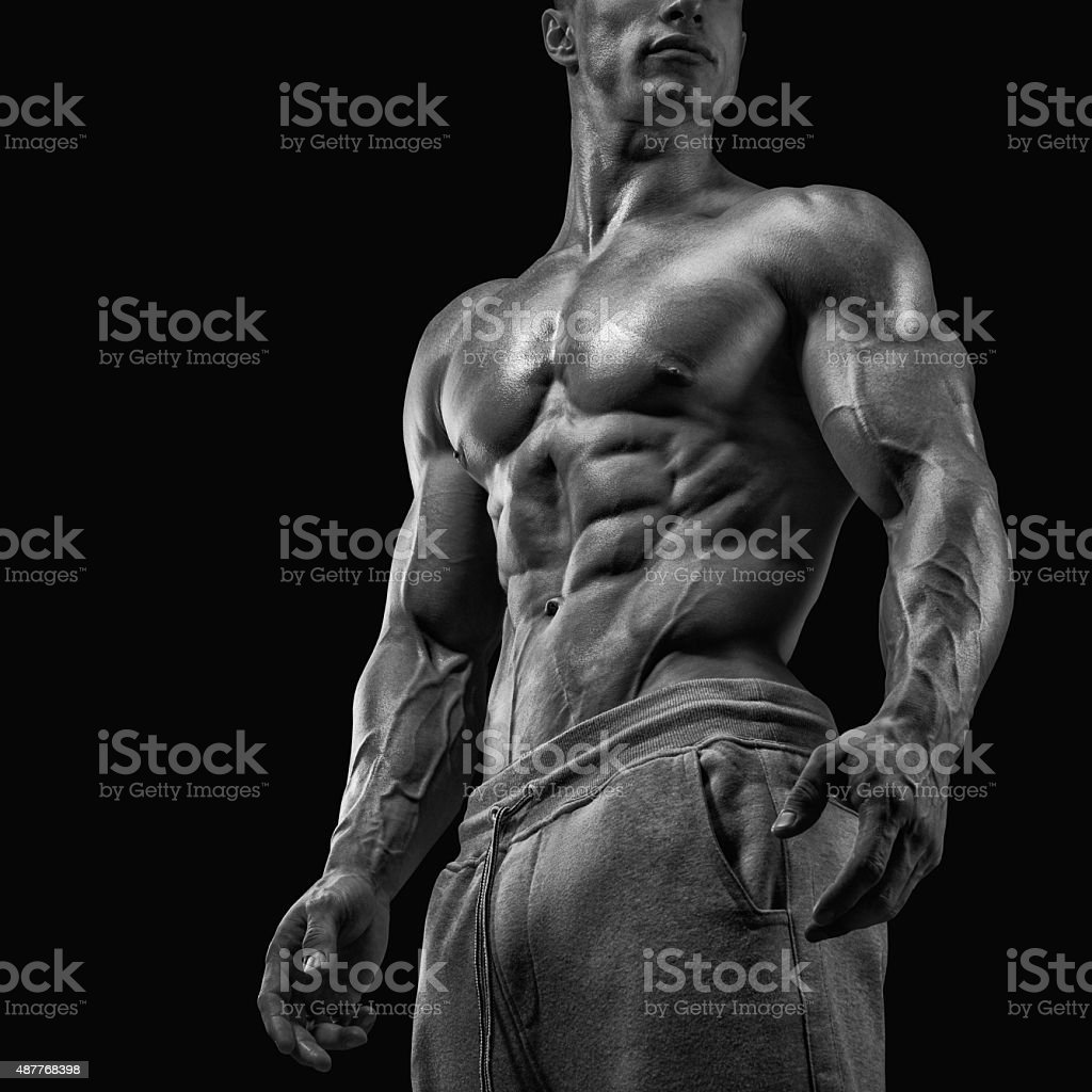 Close-up of athletic muscular man stock photo