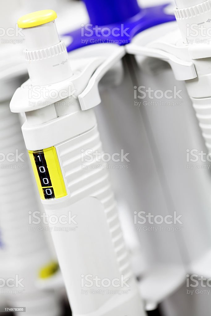 Close-up of automatic pipettes stock photo