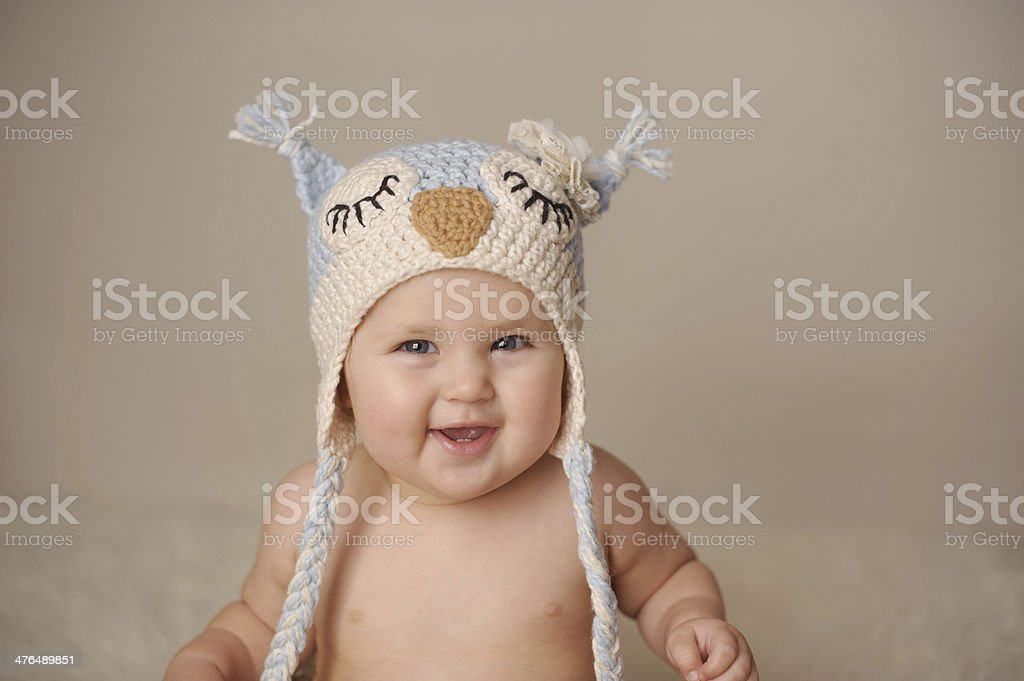 Closeup of Baby Wearing Owl Knit Hat royalty-free stock photo
