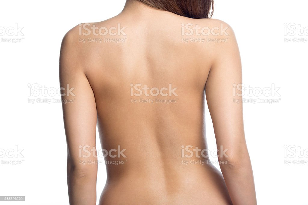 Closeup of back of attractive sexy naked woman stock photo