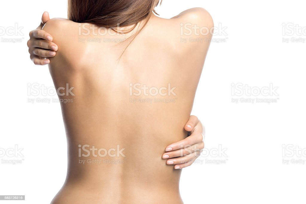 Closeup of back of gorgeous sexy naked female stock photo