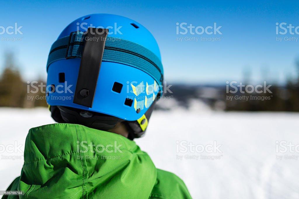 Close-up of back of ski helmet stock photo