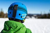 Close-up of back of ski helmet