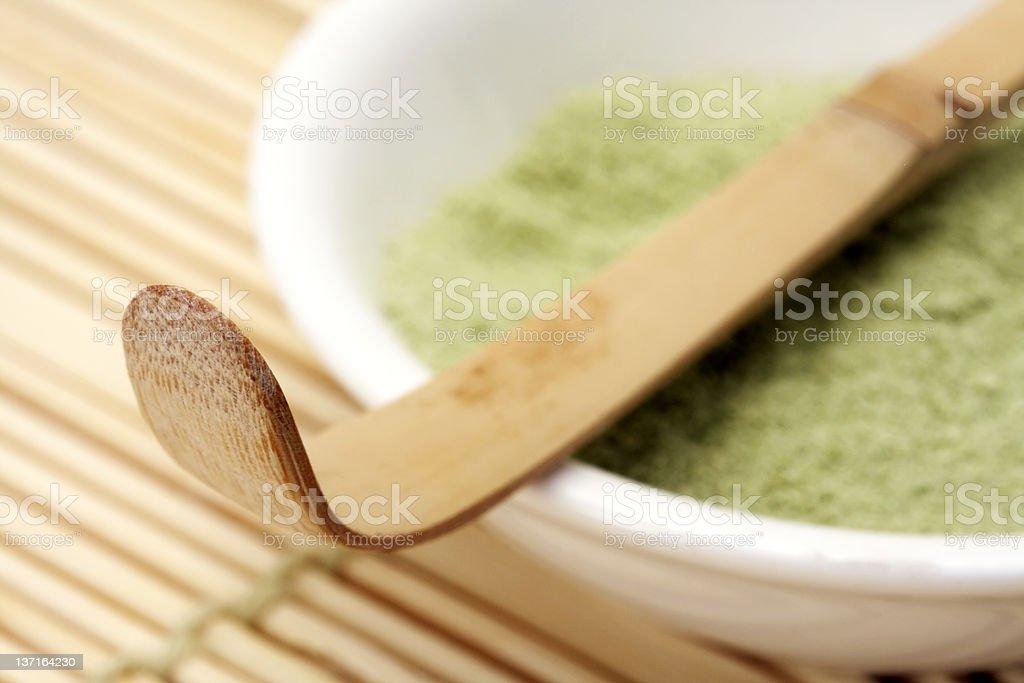 Nahaufnahme des Bambus Tee-Löffel Lizenzfreies stock-foto