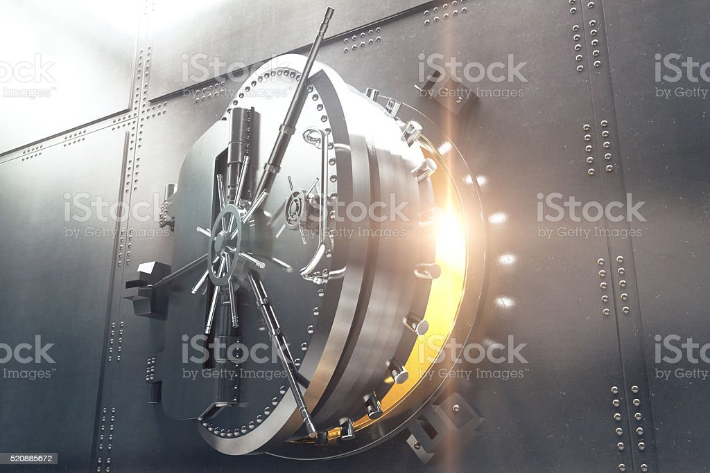 Closeup of bank vault door stock photo