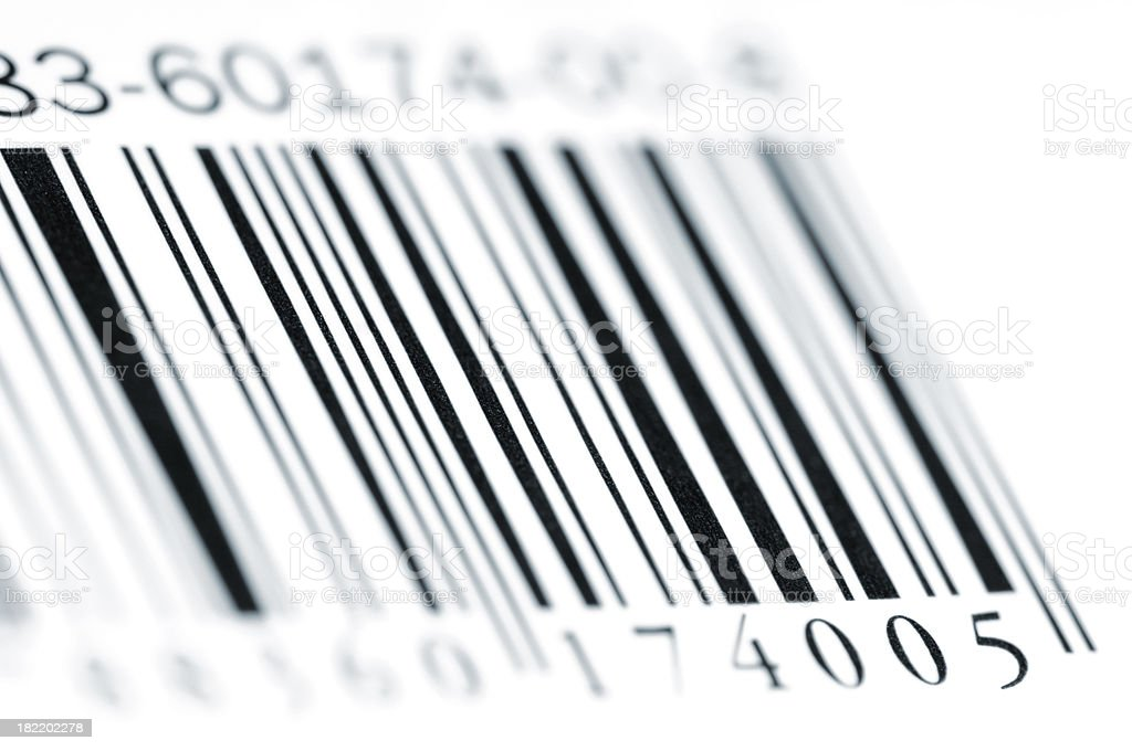 Close-up of Bar Code isolated on white stock photo