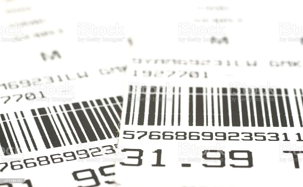 Close-up of barcode labels with price stock photo