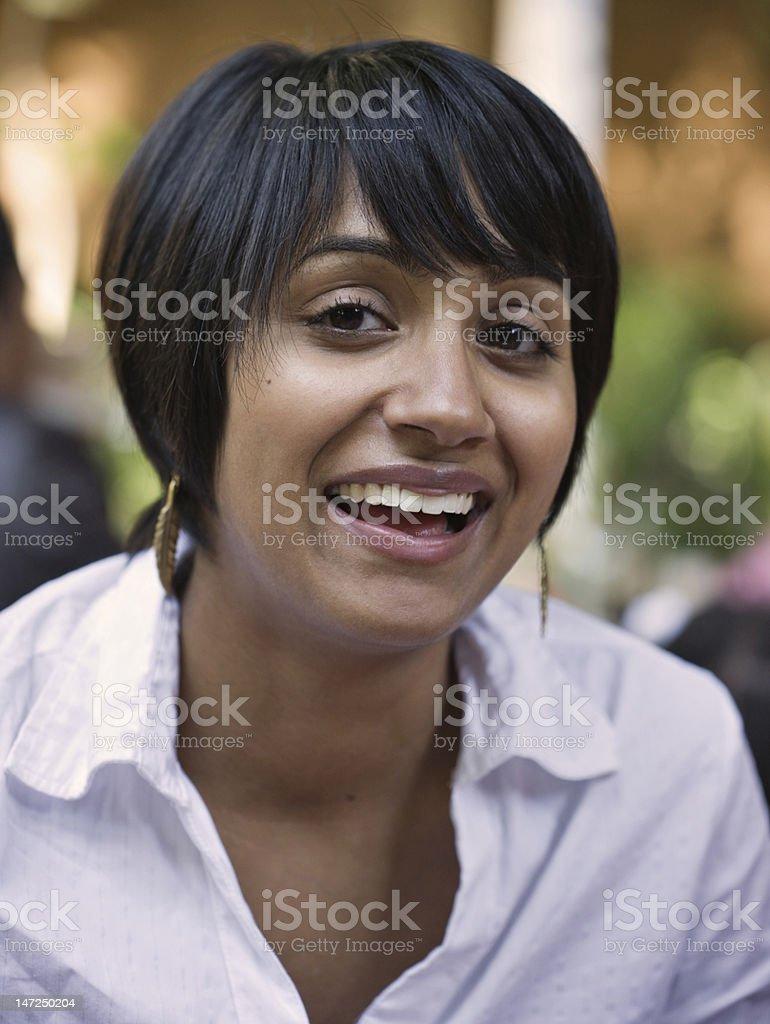 Close-up of beautiful ethnic girl stock photo