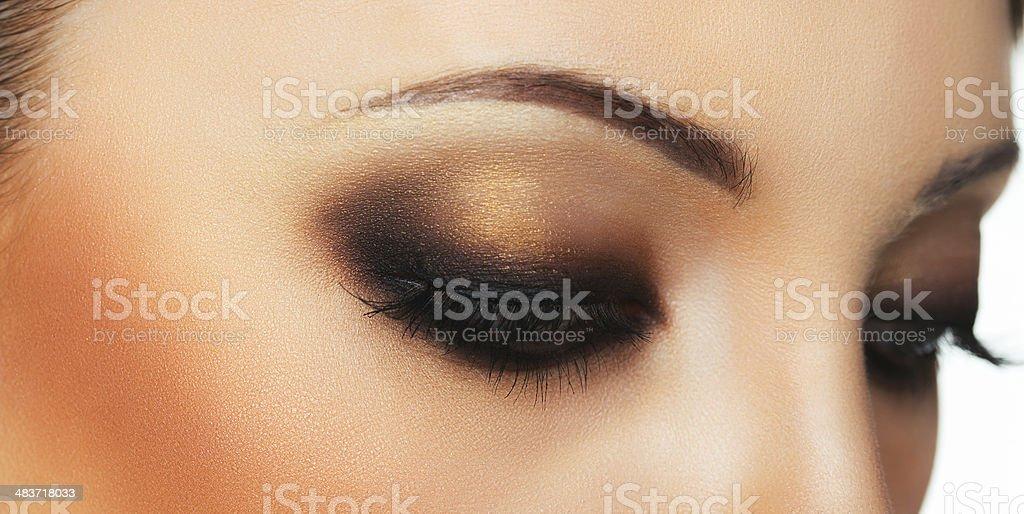 Closeup of beautiful eye with makeup stock photo