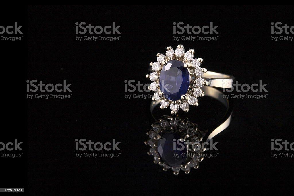 Close-up of beautiful sapphire diamond ring royalty-free stock photo