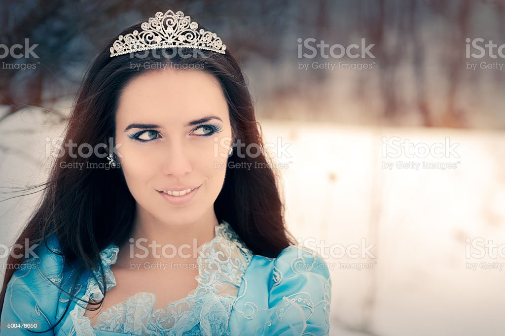 Close-up of Beautiful Snow Queen in Winter Decor stock photo