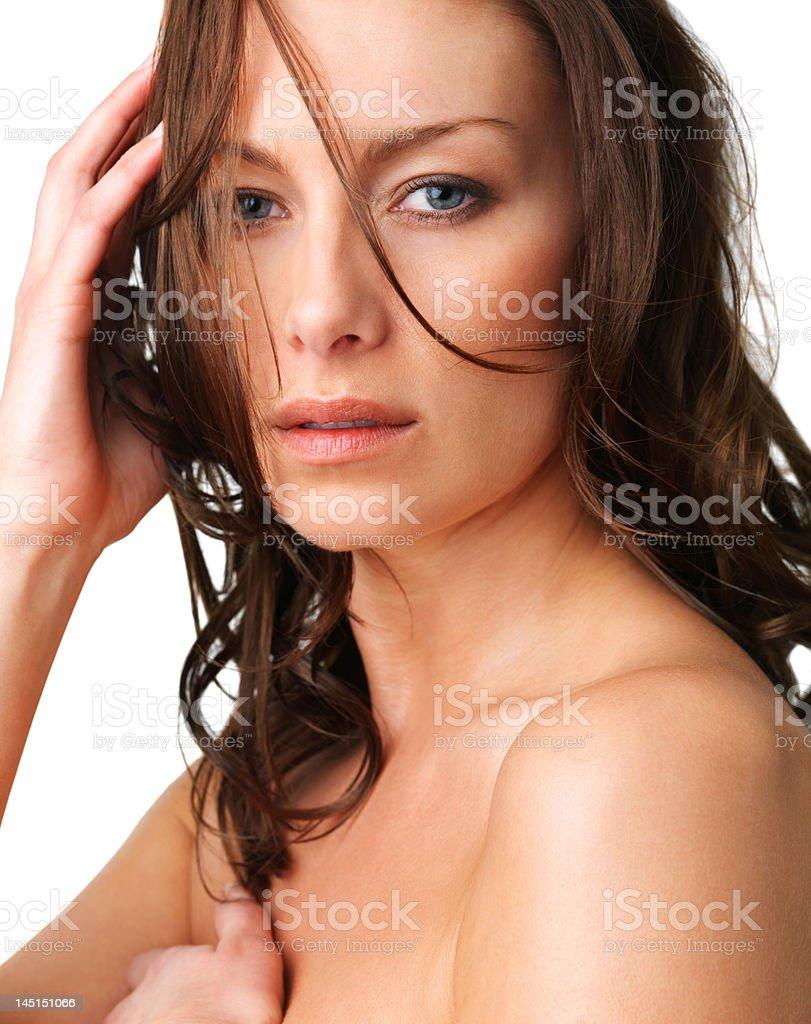 Close-up of beautiful young woman posing royalty-free stock photo