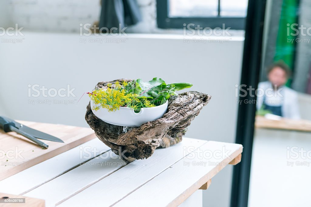 Close-up of beautifuly decorated food stock photo