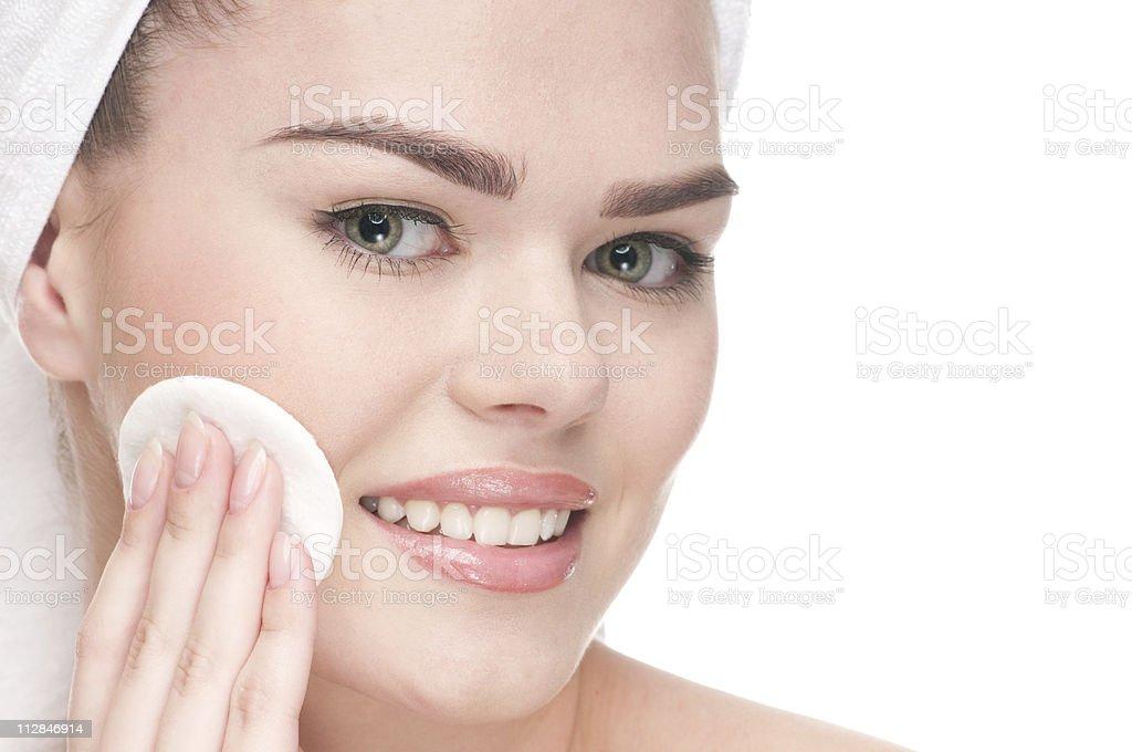 Close-up of beauty woman applying sponge stock photo