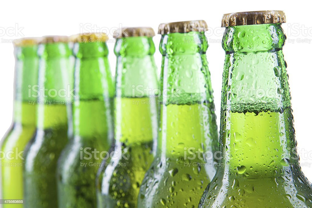 Closeup of beer bottles royalty-free stock photo
