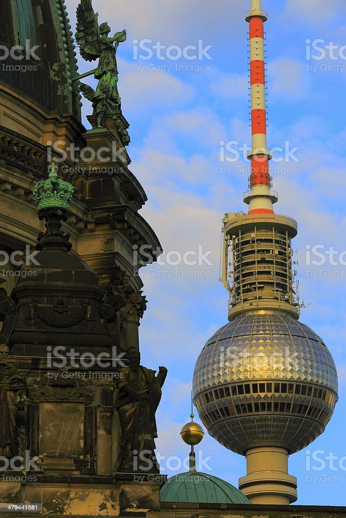 Close-up of Berlin Cathedral and Tv Tower Fernsehturm, Germany stock photo