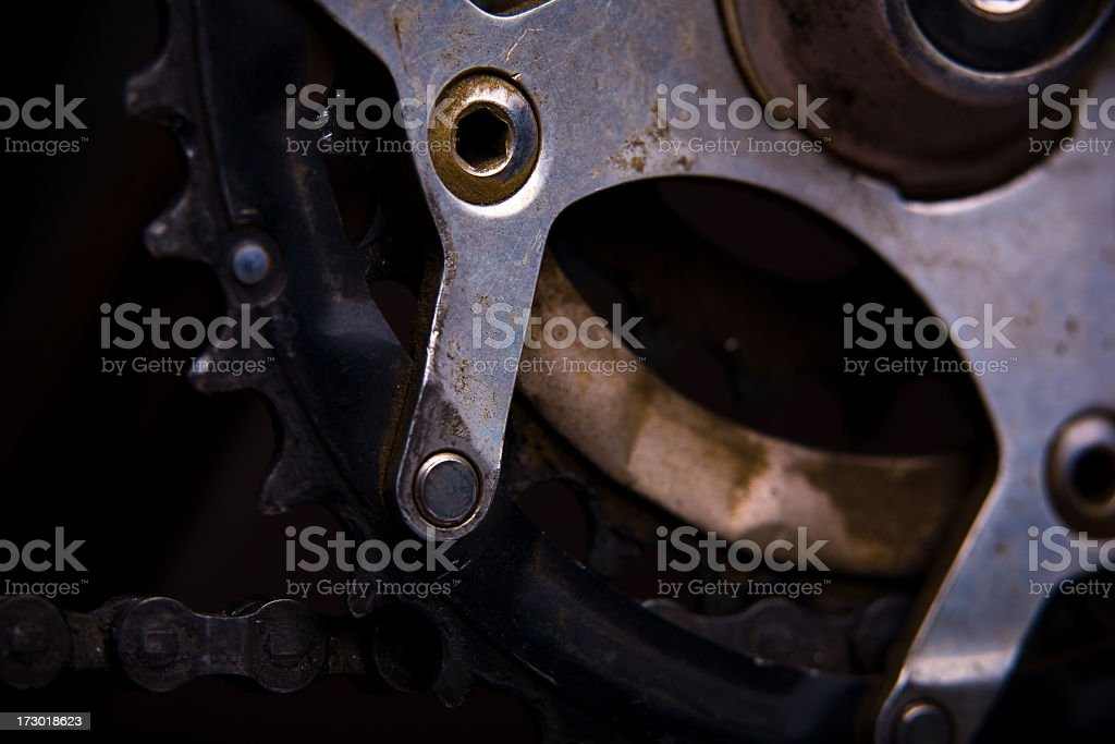 Closeup of Bicycle Gears and Chain royalty-free stock photo