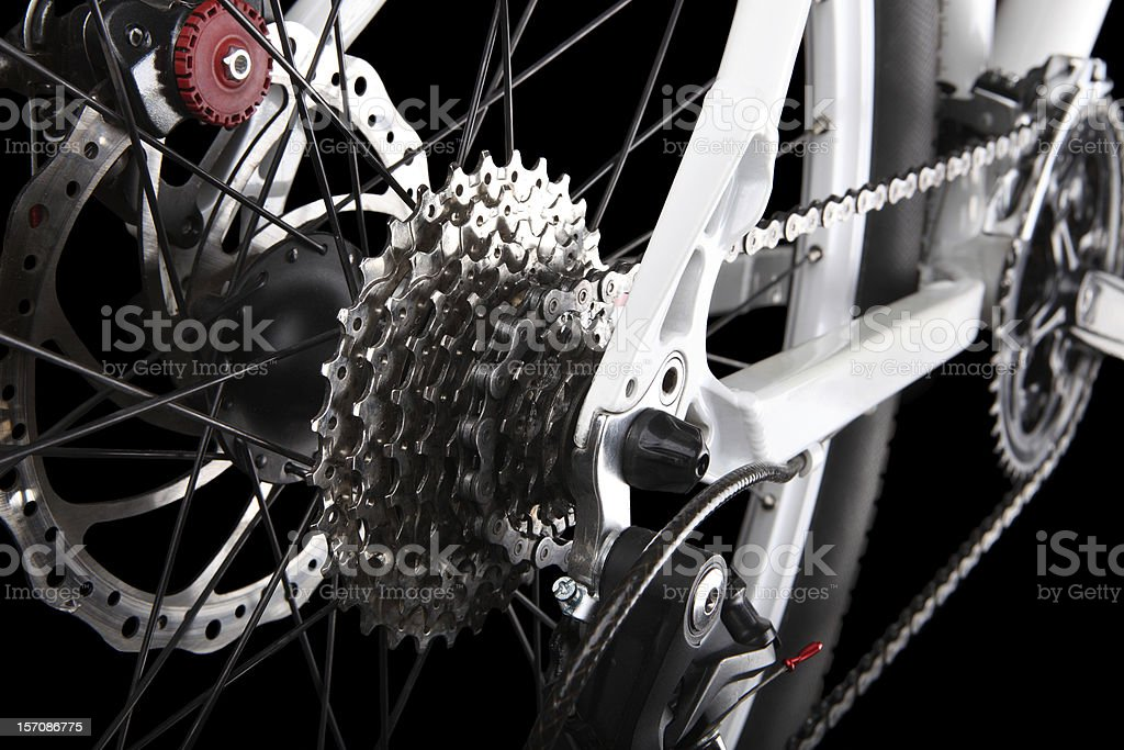 Closeup of bicycle gears and rear derailleur stock photo