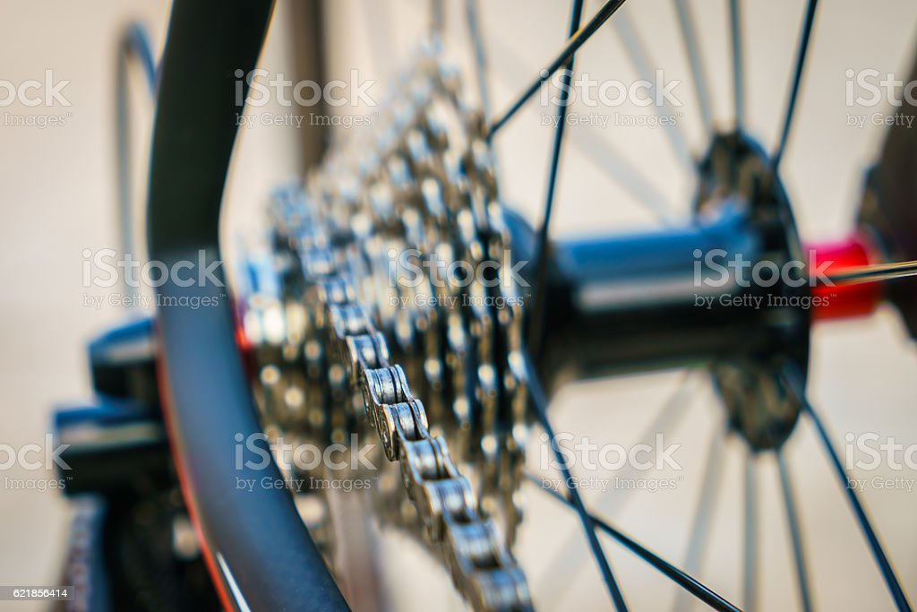 Close-up of bicycle gears stock photo
