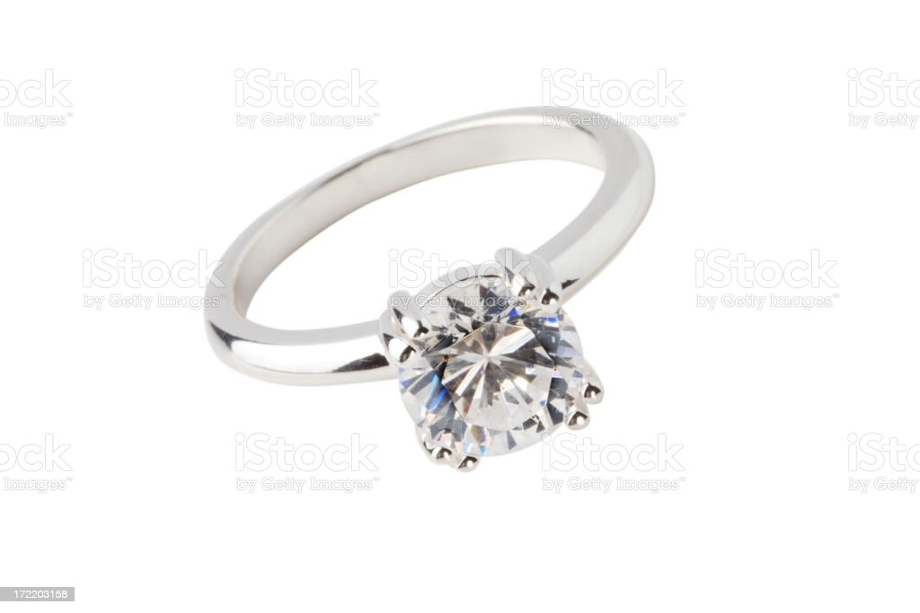 Close-up of big diamond solitaire ring royalty-free stock photo