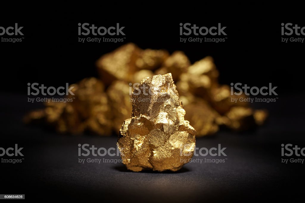 Closeup of big gold nugget stock photo