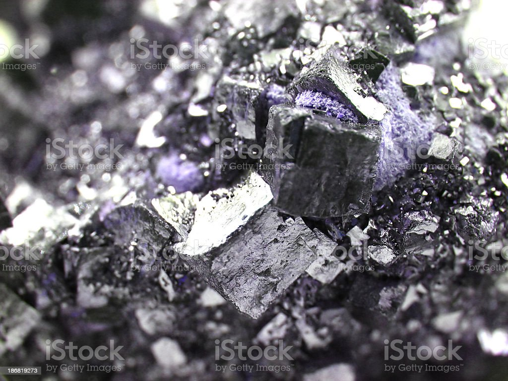 Close-up of big piece of purple coarse gems stock photo