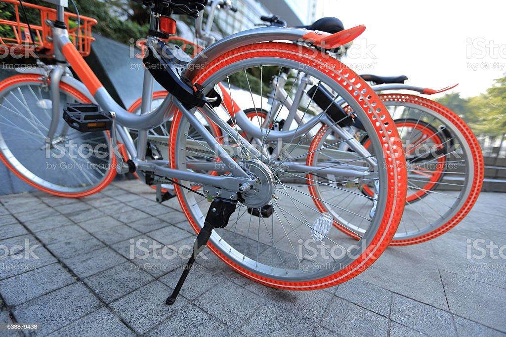 closeup of bike sharing in china stock photo