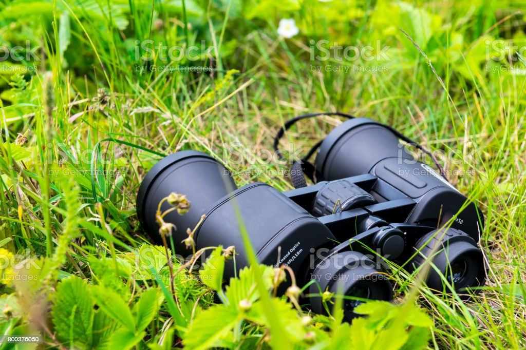 close-up of binoculars on green grass stock photo
