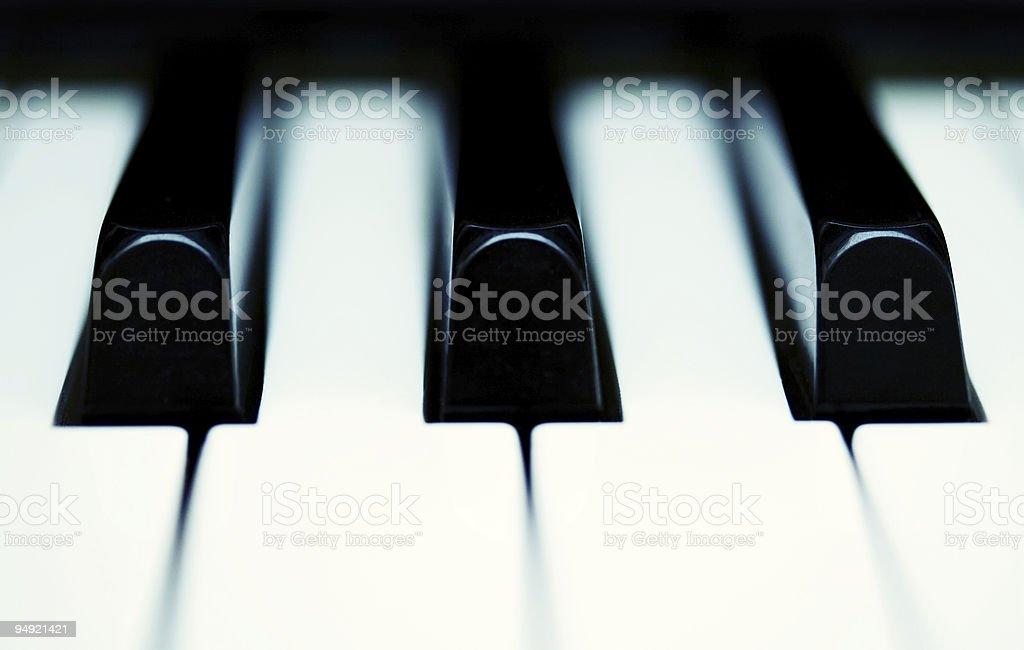 A closeup of black and white piano keys stock photo