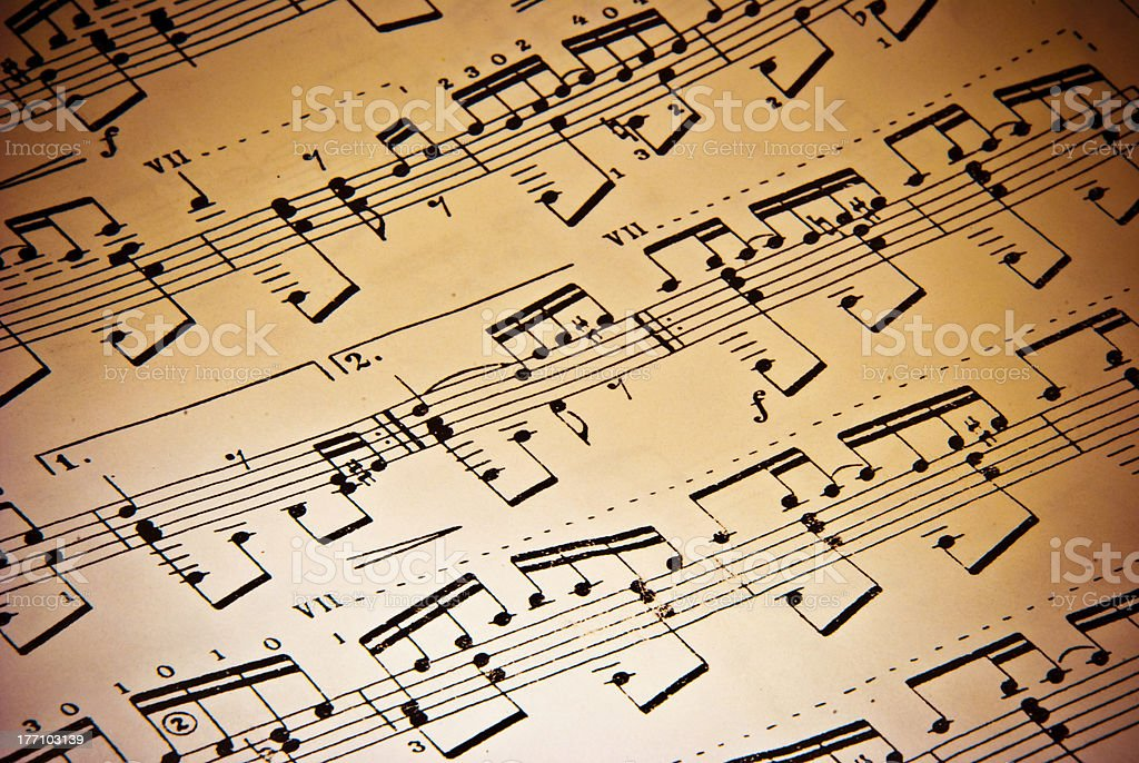 A closeup of black and white sheet music stock photo