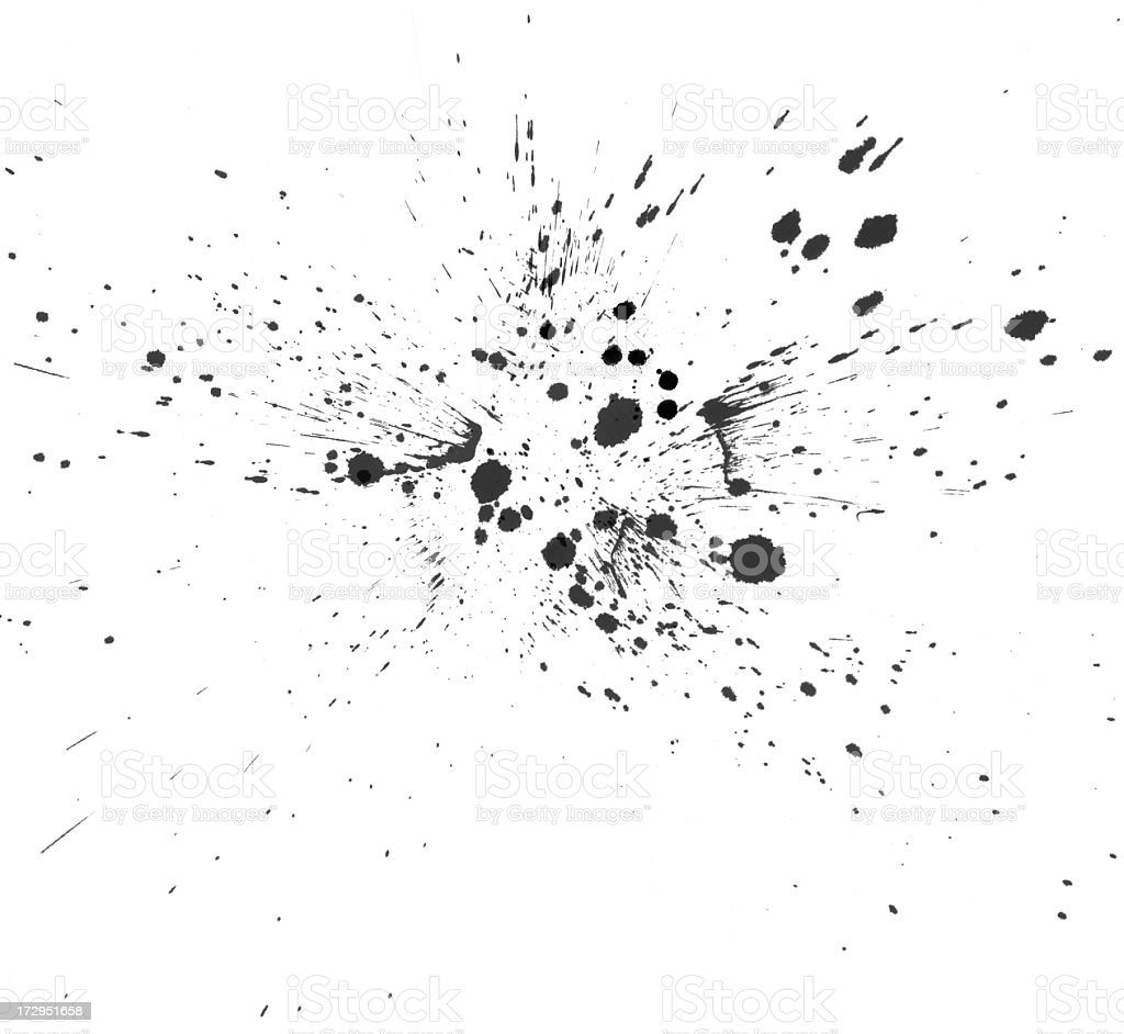 Close-up of black ink splattering in all direction royalty-free stock photo