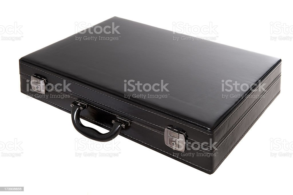 Close-up of black leather briefcase with two lockers stock photo
