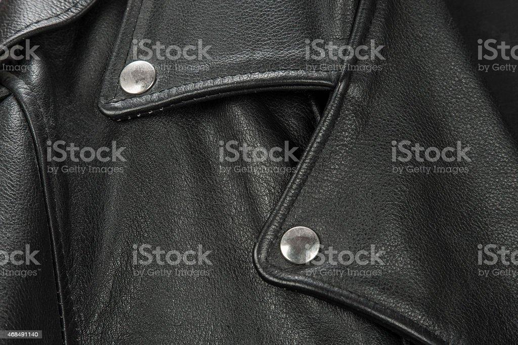 close-up of black leather jacket details stock photo