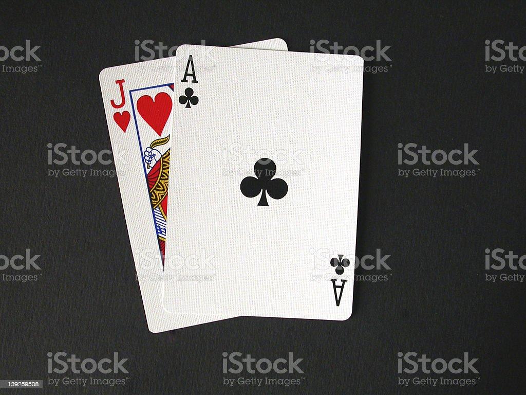 Close-up of blackjack isolated on black background stock photo
