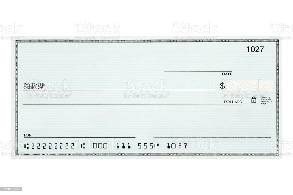Close-up of blank bank check sample against white background stock photo