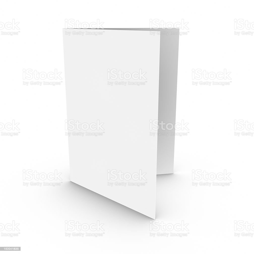 Close-up of blank bifold brochure on white background stock photo