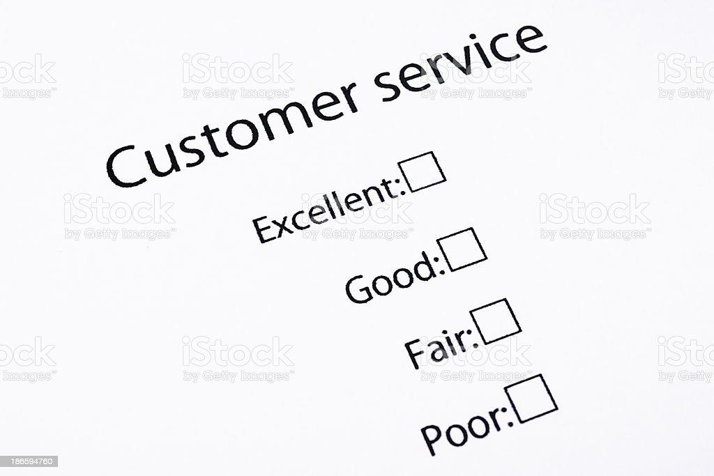 Closeup Of Blank Customer Service Feedback Form Stock Photo