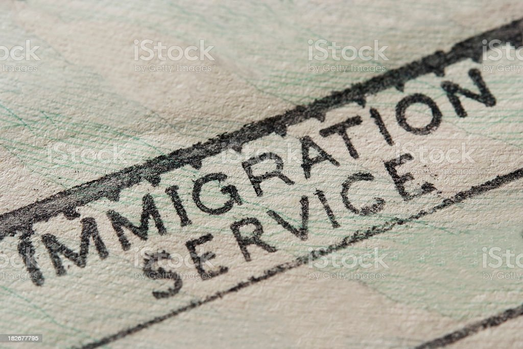 Close-up of blank Immigration stamp royalty-free stock photo