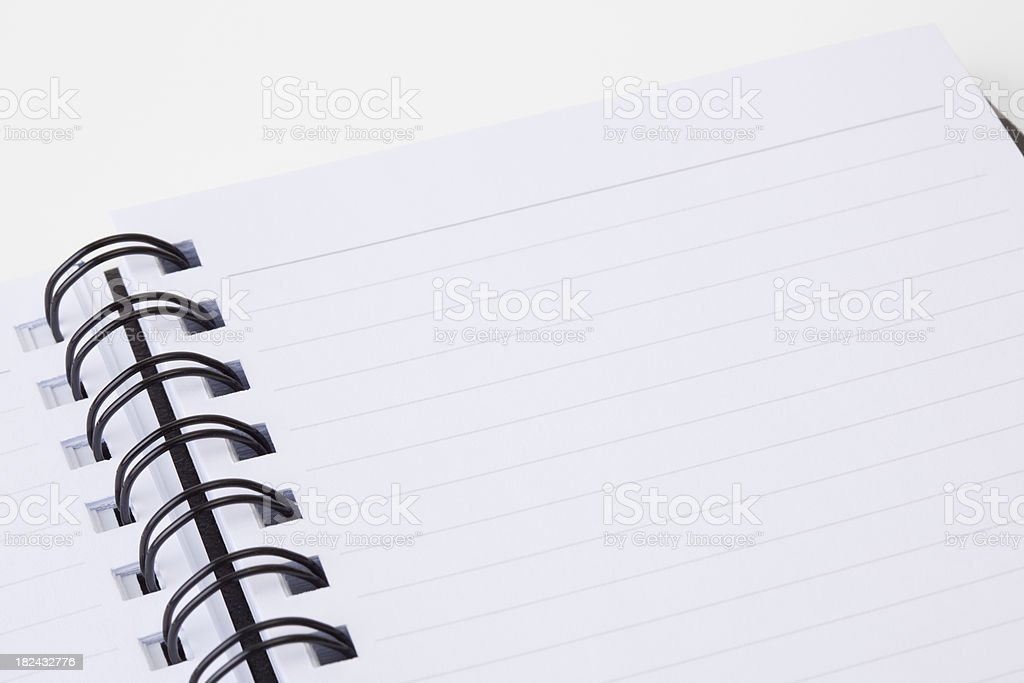 Closeup of blank notebook paper royalty-free stock photo