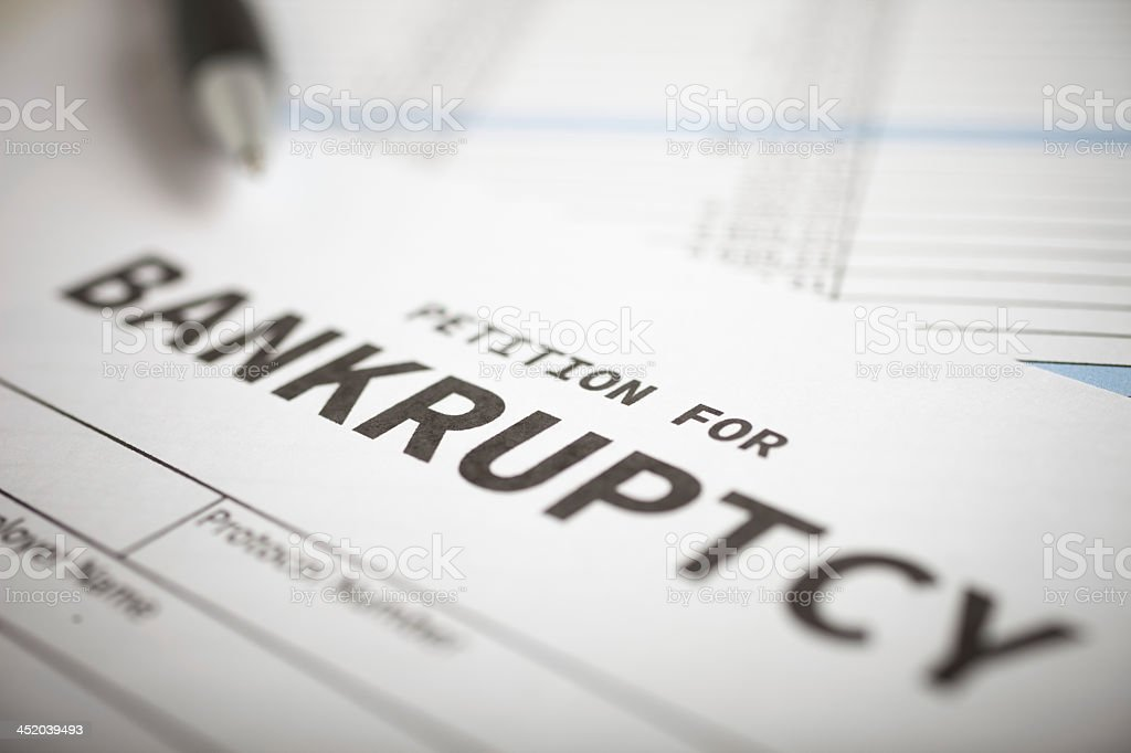 Close-up of blank petition for bankruptcy stock photo