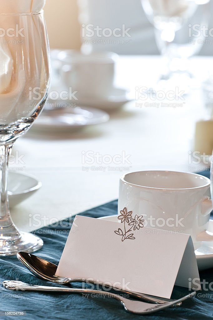 Closeup of blank placecard on wedding table royalty-free stock photo